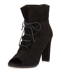 Bound Lace Up Peep Toe Bootie Black Stuart Weitzman
