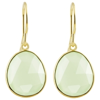 Auren 22Ct Gold Vermeil Rose Cut Gemstone Drop Earrings Aqua Chalcedony