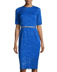 Ellen Tracy Belted Lace Midi Dress Cobalt