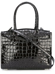 Rochas Crocodile Texture Tote Bag Black