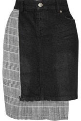 Each X Other Denim Paneled Pleated Prince Of Wales Checked Cady Mini Skirt Black