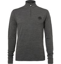 Iffley Road Thorpe Merino Wool Half Zip Sweater Gray