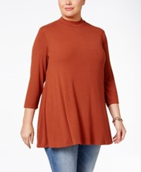 Styleandco. Style Co. Plus Size Mock Neck Tunic Only At Macy's Rich Auburn