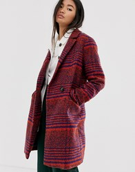 Only Oversized Check Coat Red