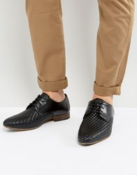 Asos Derby Shoes In Black Leather With Weave Detail Black