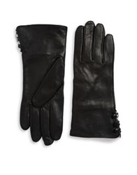 Lord And Taylor Rabbit Fur Lined Cuff Leather Gloves Black White