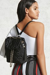 Forever 21 Quilted Chain Backpack Black