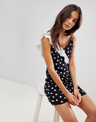 Oh My Love Cami Mini Dress With Frill Detail Black