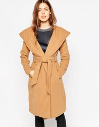 Brave Soul Belted Coat With Oversize Hood Camel