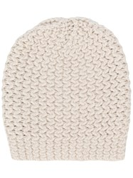 Danielapi Ribbed Beanie Hat Nude And Neutrals
