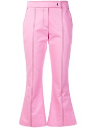 Msgm Cropped Flare Trousers Pink And Purple