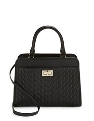 Karl Lagerfeld Quilted Leather Satchel Black