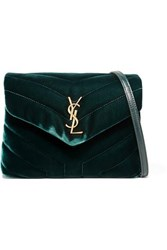 Saint Laurent Loulou Quilted Velvet Shoulder Bag Emerald