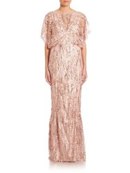 Talbot Runhof Sequin Lace Gown Oyster