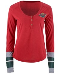 Reebok Women's Minnesota Wild Stripe Henley Long Sleeve T Shirt Red