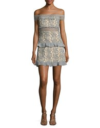 Romeo And Juliet Couture Off The Shoulder Lace Dress Dusty Sage