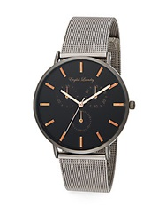 English Laundry Gunmetal Tone Stainless Steel Interchangeable Mesh Bracelet And Striped Nylon Strap Watch