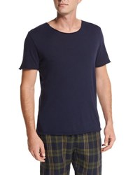 Vince Raw Edge Cotton Tee Navy