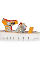 Msgm Leather Trimmed Printed Canvas Sandals