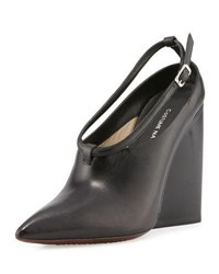 Cnc Costume National Pointed Toe Wedge Bootie Black