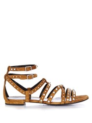 Saint Laurent Stud Embellished Suede Gladiator Sandals