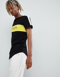 Sixth June T Shirt In Black With Cut And Sew Logo