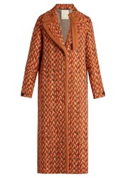 Marco De Vincenzo Wool Blend Tweed Coat Orange Multi