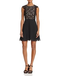 Aidan Mattox Lace And Chiffon Dress Black Nude