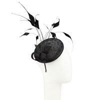 John Lewis Jordan Feather Quills Pillbox Fascinator Black