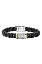 Lagos 'Black Caviar' Diamond Pave Rope Bracelet Black Caviar Gold