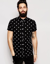 Asos Shirt In Short Sleeve With 'Rock On' Print Black