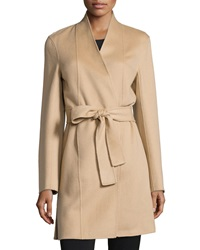 Neiman Marcus Cashmere Collection Double Face Woven Cashmere Coat Camel