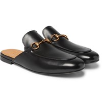 Gucci Horsebit Leather Backless Loafers Black