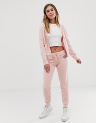 Juicy Couture Black Label Velour Cuffed Joggers With Diamante Crest Co Ord Silver Pink