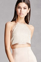 Forever 21 Honey Punch Metallic Crop Top Gold