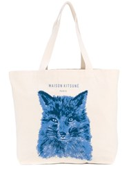 Maison Kitsune Fox Print Tote Men Cotton One Size Nude Neutrals