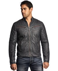 Affliction Faux Leather Moto Jacket Black