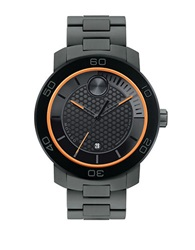 Movado Bold Mens Black Ion Plated Titanium Watch With Orange Accents Grey