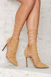 Nasty Gal Stacia Lace Up Heel Tan