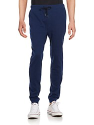 Threads For Thought Herringbone Cotton Blend Jogger Pants Black Blue