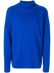 Ami Alexandre Mattiussi Oversized Turtleneck Sweater Wool Blue