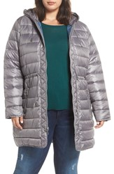 Kenneth Cole Plus Size New York Packable Quilted Parka Nickel