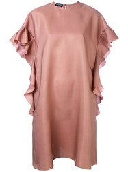 Rochas Ruffle Sleeve Shift Dress Women Silk Modal 44 Pink Purple