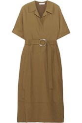 Barbara Casasola Belted Taffeta Midi Dress Tan