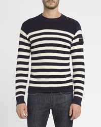 G Star Blue And White Dadin Shoulder Buttons Sailor Stripe Round Neck Sweater
