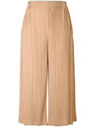 Jil Sander Pleated Cropped Trousers Women Polyester 36 Nude Neutrals