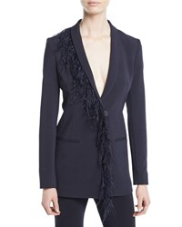 Cushnie Et Ochs Deep V Long Sleeve Single Breasted Cady Blazer With Feather Trim Blue