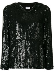 P.A.R.O.S.H. Oversized Sequinned Hoodie Black