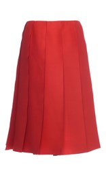 Nina Ricci Wool And Silk Pleated Skirt Red