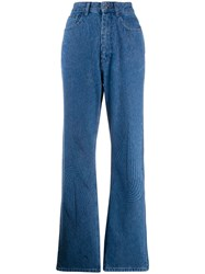 Y Project Striped Straight Leg Jeans Blue